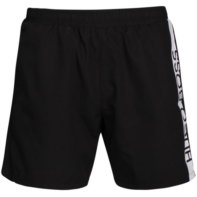 Mens Black Dolphin Side Logo Swim Shorts