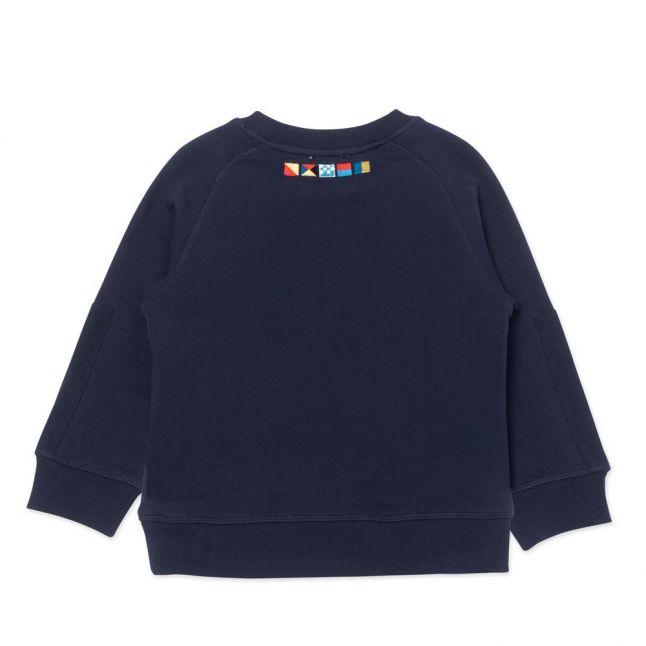 Boys Navy Colour Logo Sweat Top