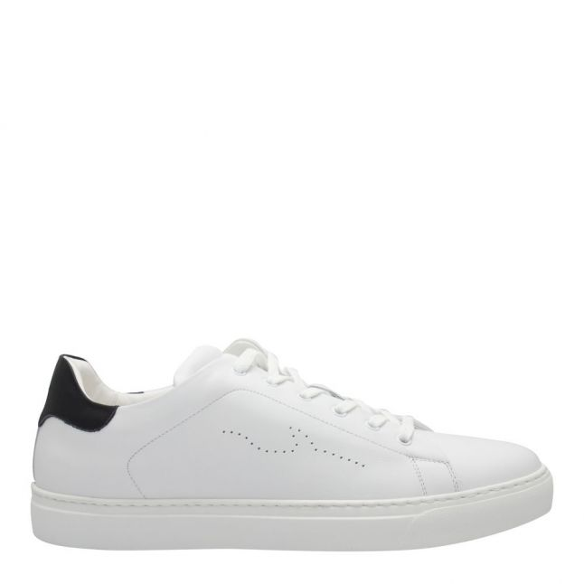 Mens White Shark Leather Trainers