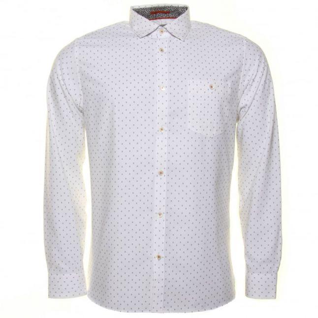 Mens White Evrytoo Geo Printed L/s Shirt