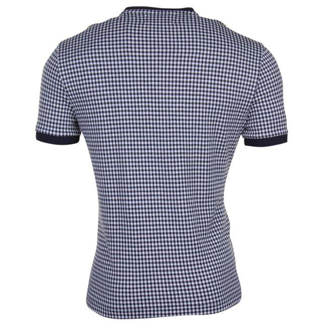 Mens Dark Sapphire Jacquard Gingham Tee Shirt