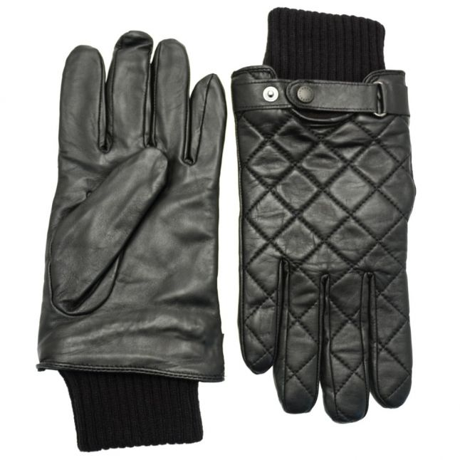 Mens Black Quilted Leather Gloves