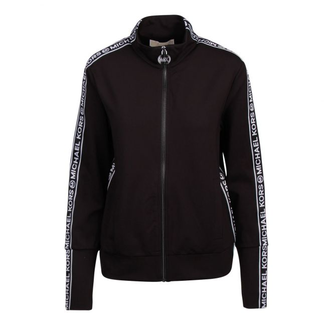 Womens Black Logo Tape Sweat Jacket