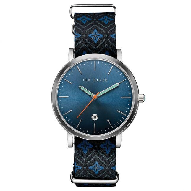 Mens Blue & Black Geo Pattern Strap Watch