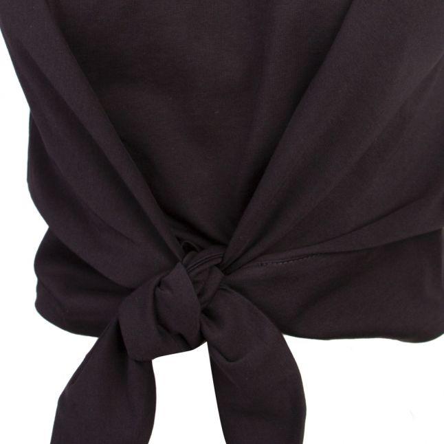 Womens Black Knot Front Vest Top