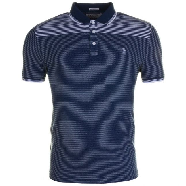 Mens Blue Wing Teal Engineered Jacquard S/s Polo Shirt
