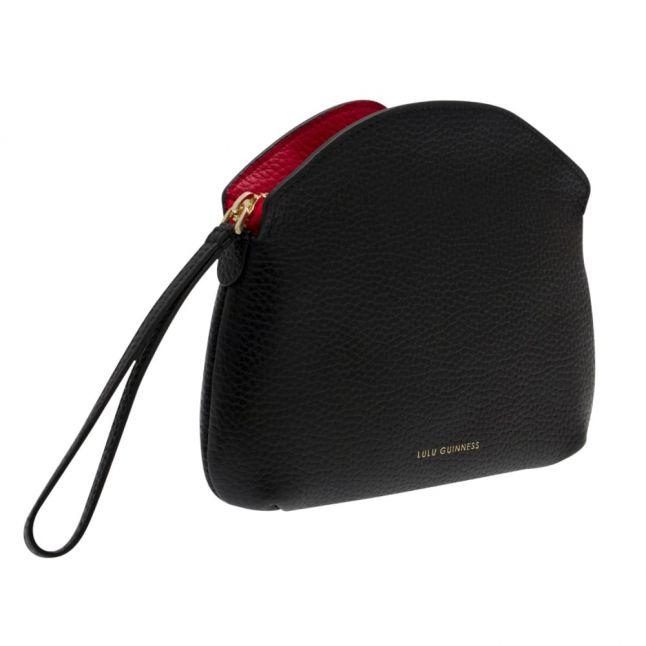 Womens Black/Red Peekaboo Lip Clover Clutch Bag