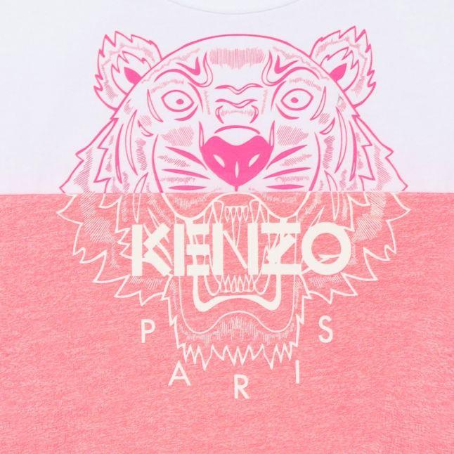 Girls Neon Pink Tiger Mix S/s T Shirt