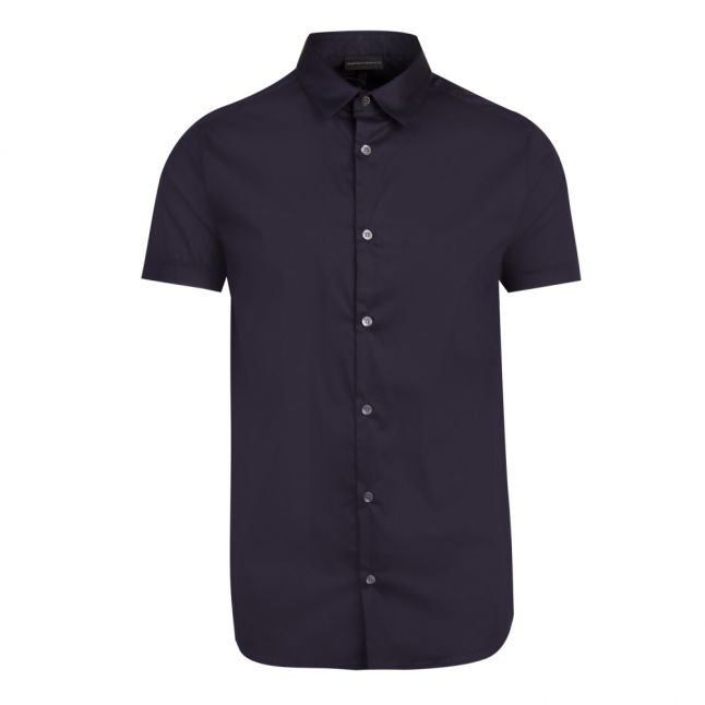 Mens Navy Tape Detail S/s Shirt