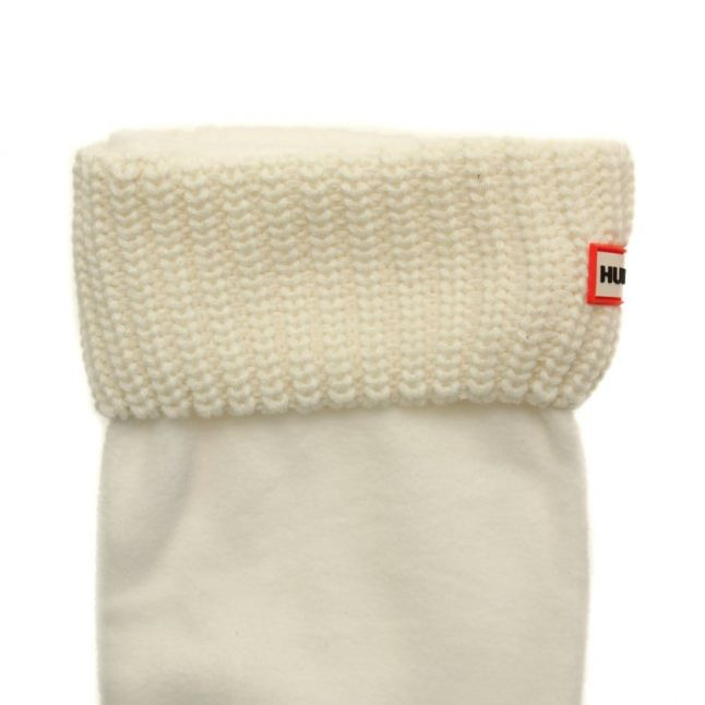 Womens White Tall Half Cardigan Stitch Wellington Sock