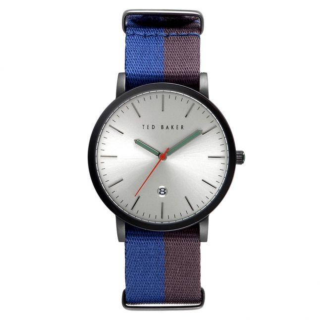 Mens Silver Dial Blue Woven Strap Watch