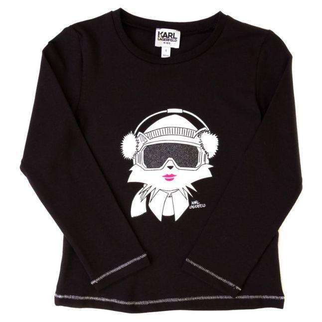 Girls Black Cat L/s Tee Shirt