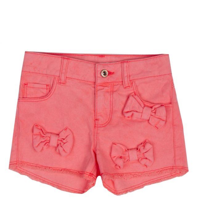 Girls Fuschia Cotton Twill Bow Shorts