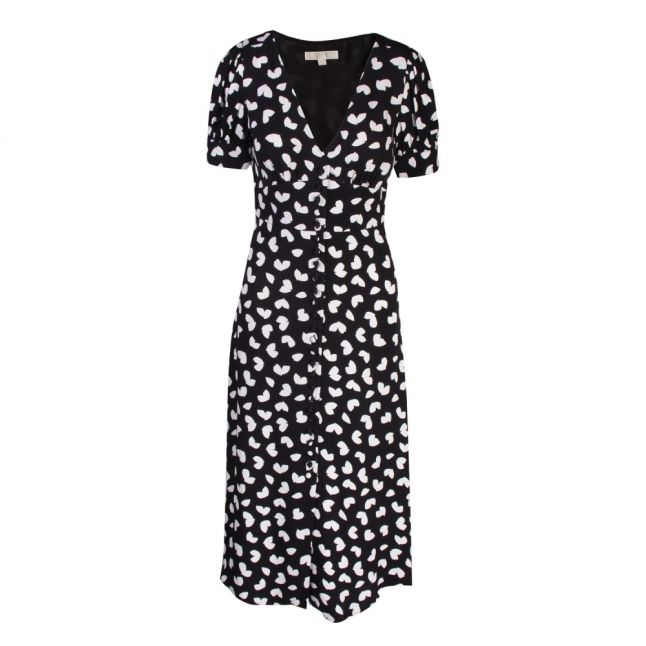 Womens Black Petal Puff Sleeve Midi Dress