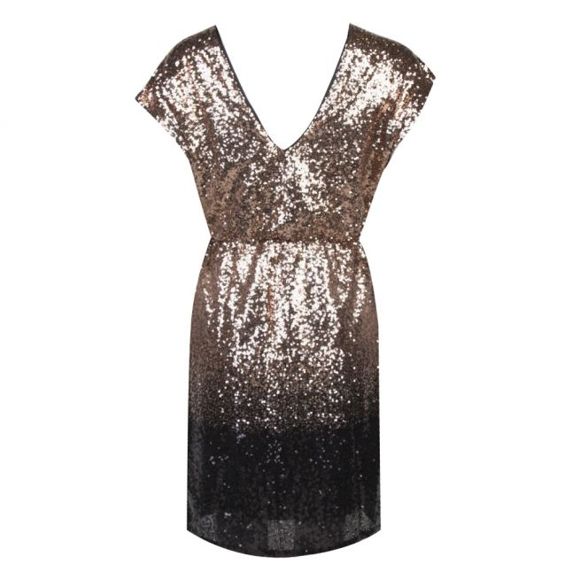 Womens Black/Gold Vielvia Sequin Dress