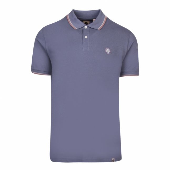 Mens Blue Tipped Pique S/s Polo Shirt