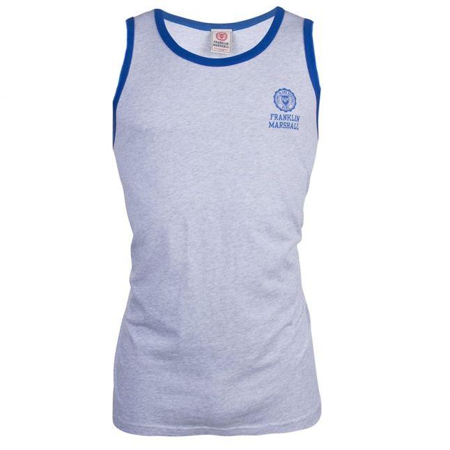 Mens Light Grey Melange Small Logo Vest Top