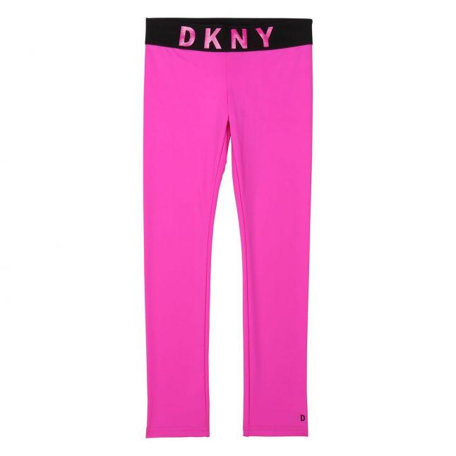 Girls Hot Pink Branded Leggings