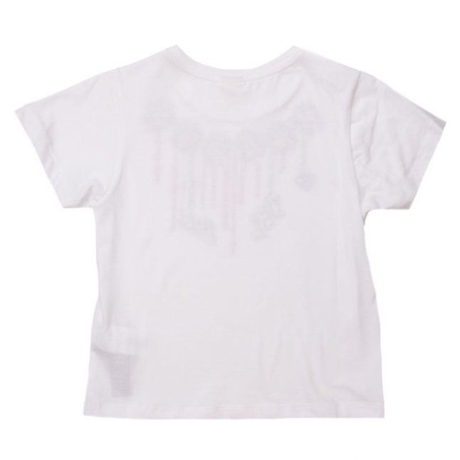 Girls White Printed Necklace S/s Tee Shirt