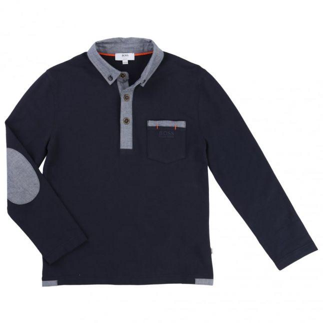 Boys Navy Contrast Collar L/s Polo Shirt