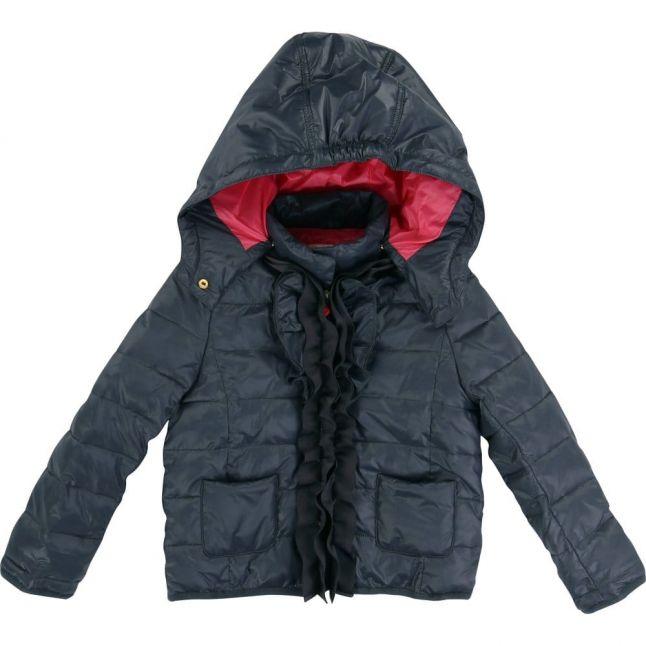 Girls Grey Frill Puffer Jacket