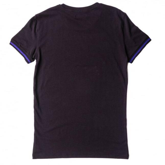 Mens Black Striped Logo Band S/s Tee Shirt