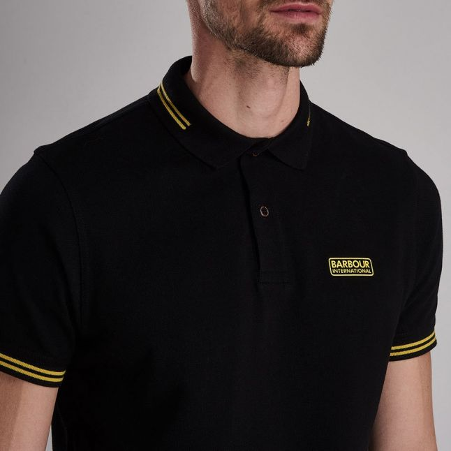 Mens Black/Yellow Essential Tipped S/s Polo Shirt