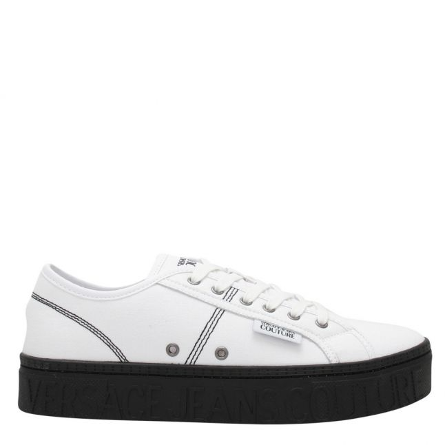 Mens White Branded Canvas Trainers