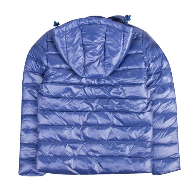 Girls Blue Spoutnic Shiny Hooded Padded Jacket