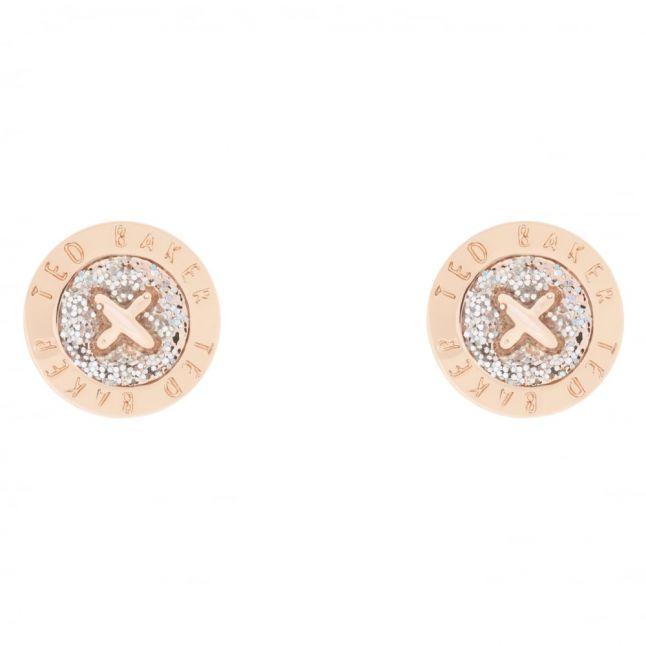 Womens Rose Gold/Silver Glitter Eisley Enamel Mini Button Earrings