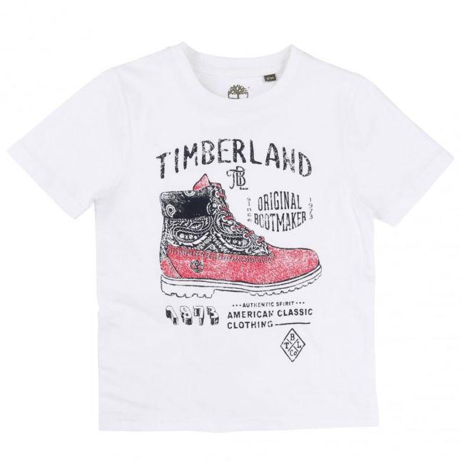 Boys White Boot S/s Tee Shirt