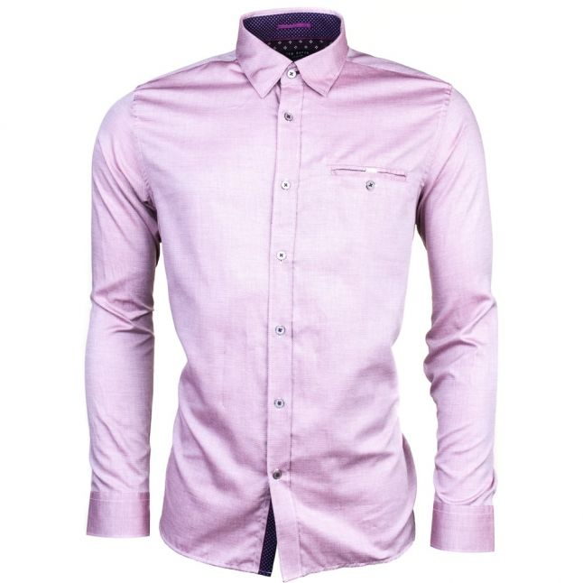 Mens Red Thefunk Oxford L/s Shirt