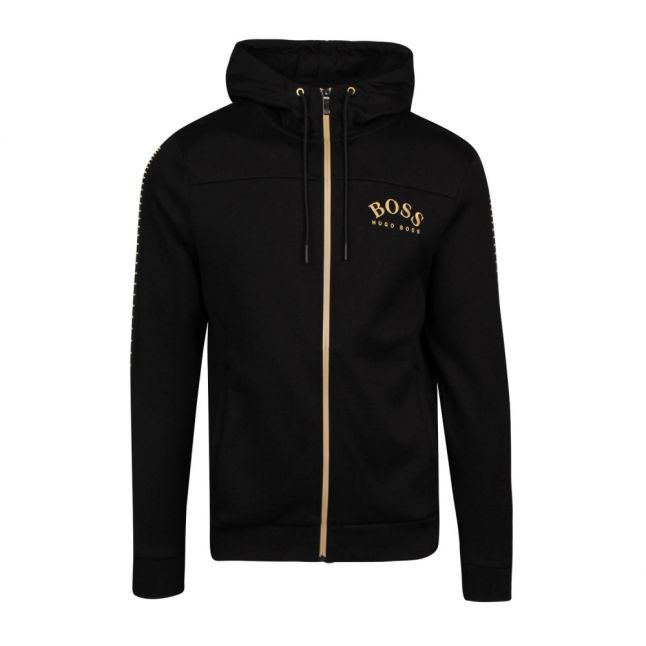 Athleisure Mens Black/Gold Saggy Win Hooded Zip Sweat Top