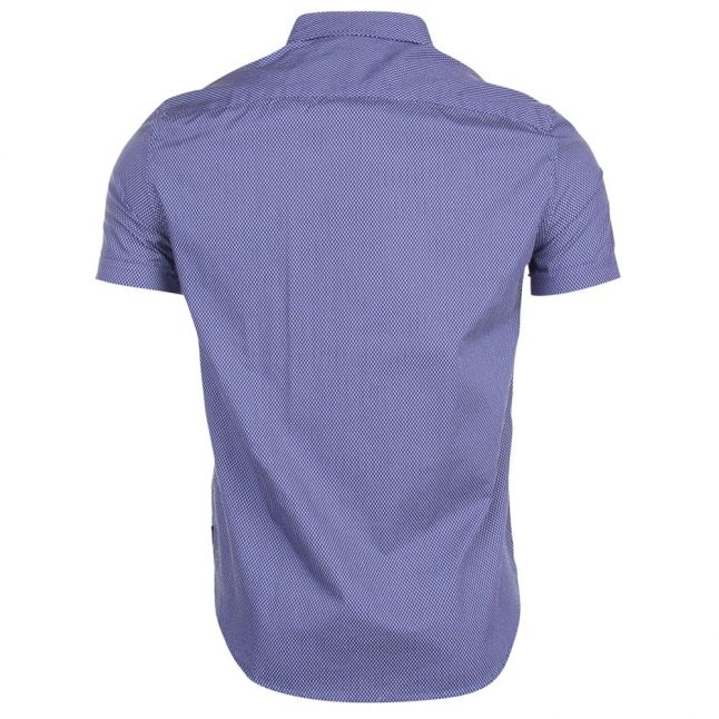 Mens Blue Printed S/s Shirt