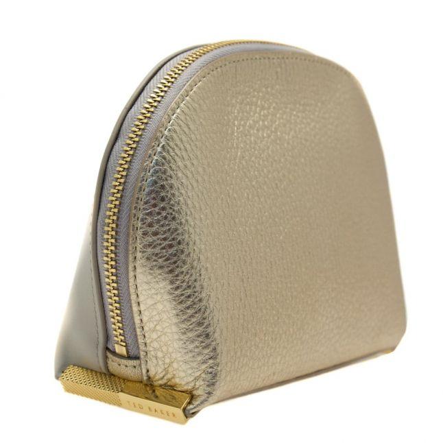 Womens Light Grey & Gold Ingril Leather Make Up Bag