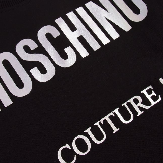 Moschino Girls Black Iridescent Logo Dress