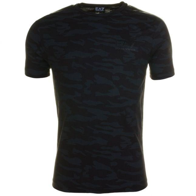Mens Black Training Camo Crew S/s Tee Shirt
