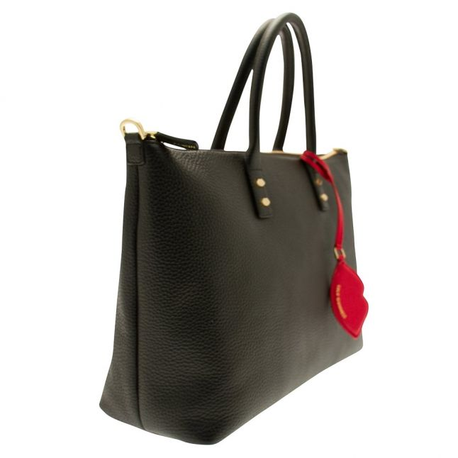 Womens Black Grainy Leather Medium Frances Tote Bag