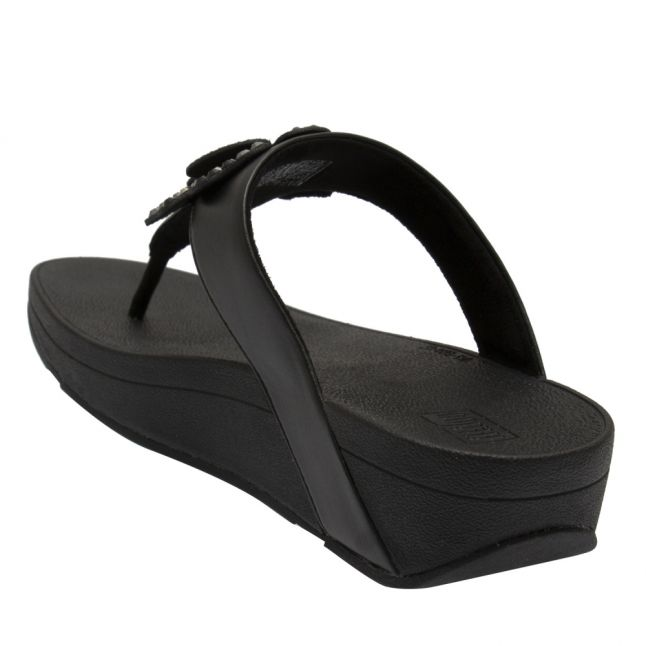 Womens All Black Lottie Corsage Toe Post Sandals