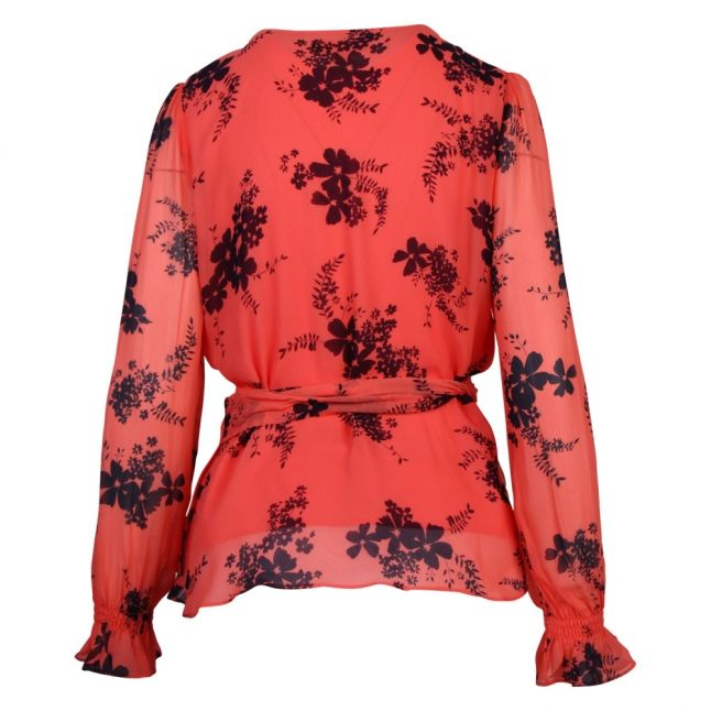 Womens Coral Peach Blooming Bouquet Print Wrap Top