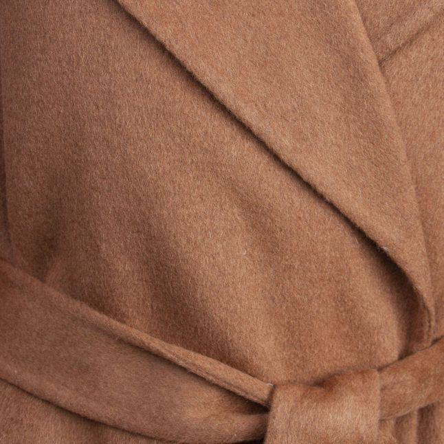 Womens Caramel Wool Wrap Coat