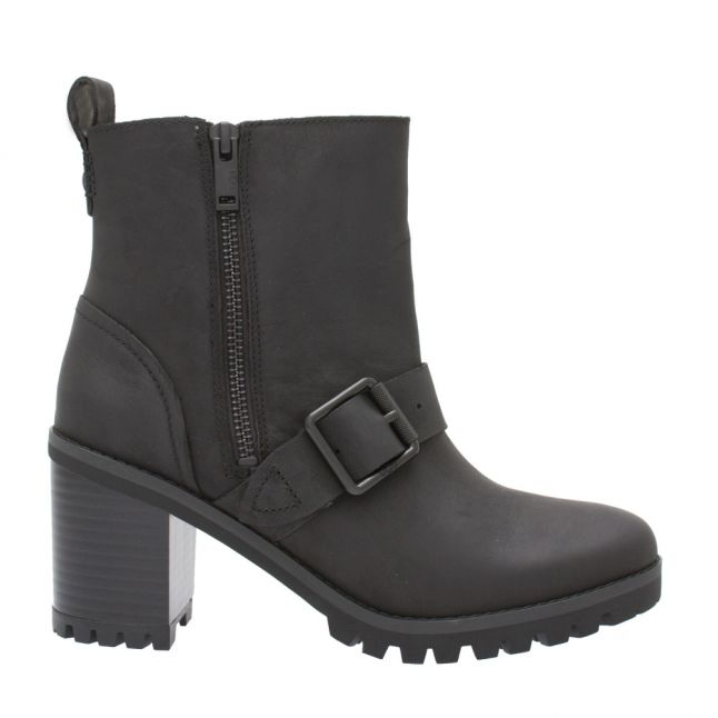 Womens Black Fern Buckle Heeled Boots