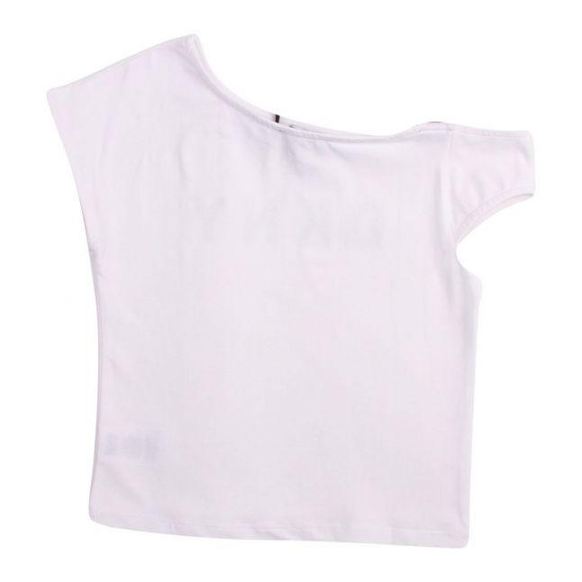 Girls White Logo Strap S/s T Shirt