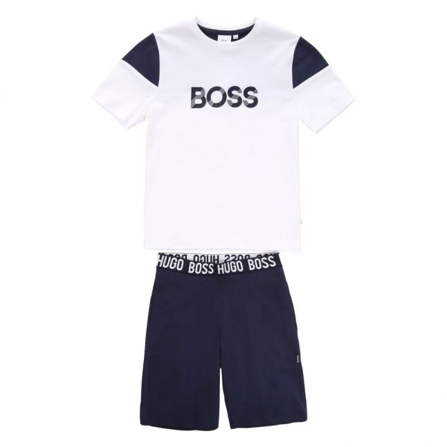 Boys White/Navy Branded Lounge T Shirt & Shorts Set