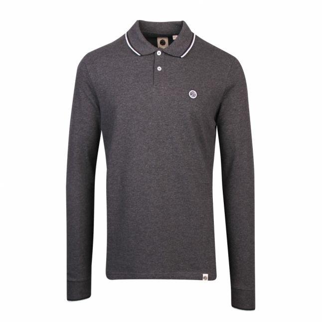 Mens Dark Grey Tipped Pique L/s Polo Shirt