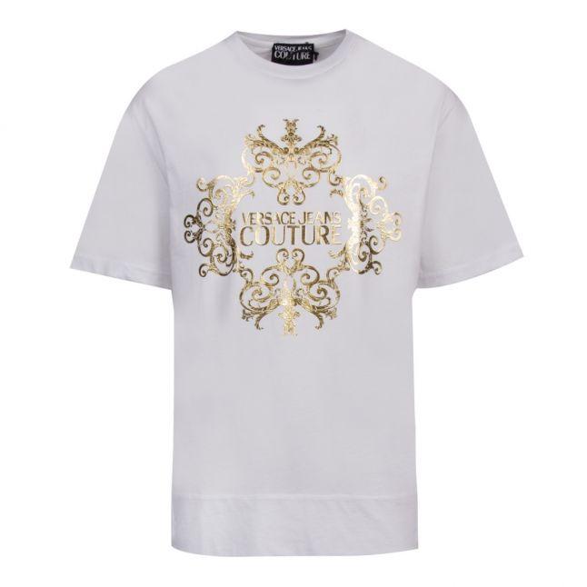 Mens White Branded Foil Print S/s T Shirt