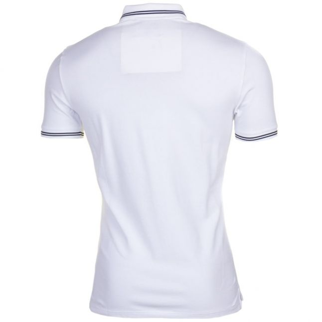 Mens White Tipped Slim Fit S/s Polo Shirt