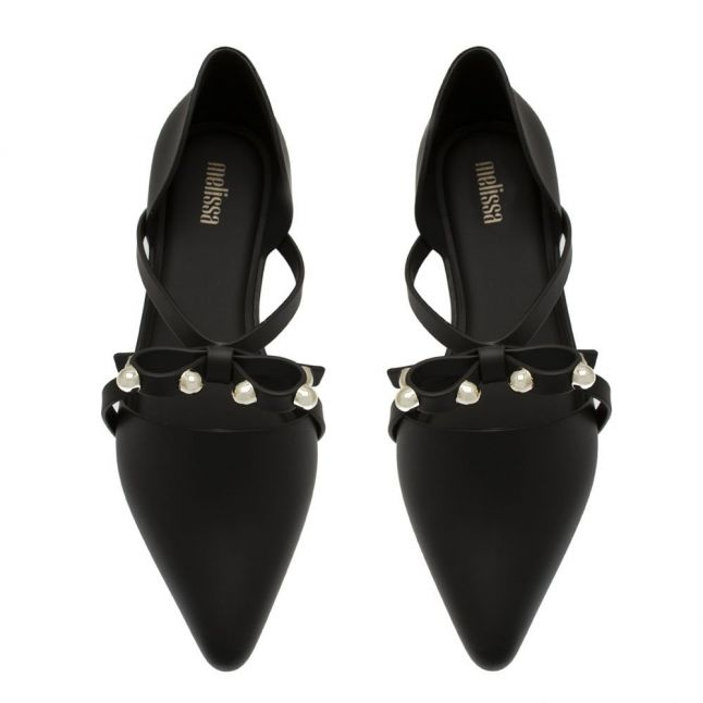 Womens Black Bow Matte Pointy Stripe Shoes