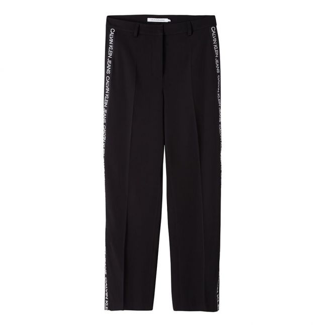 Womens Black Outline Logo Tape Wide Trousers