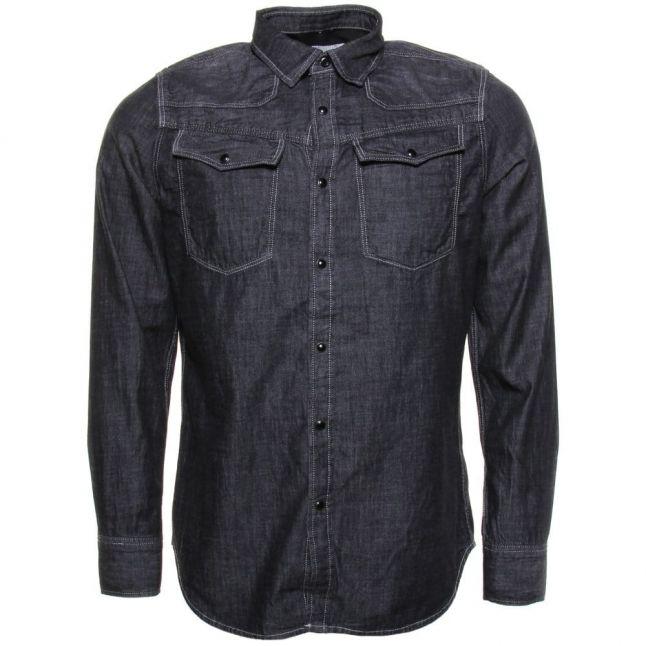 Mens Dark Aged Wash 3301 Borwick Denim Slim Fit L/s Shirt